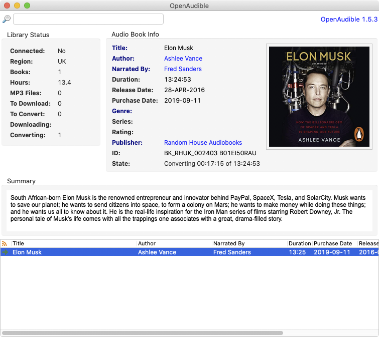 The open Audible interface showing the artwork of Elon Musk's biography.