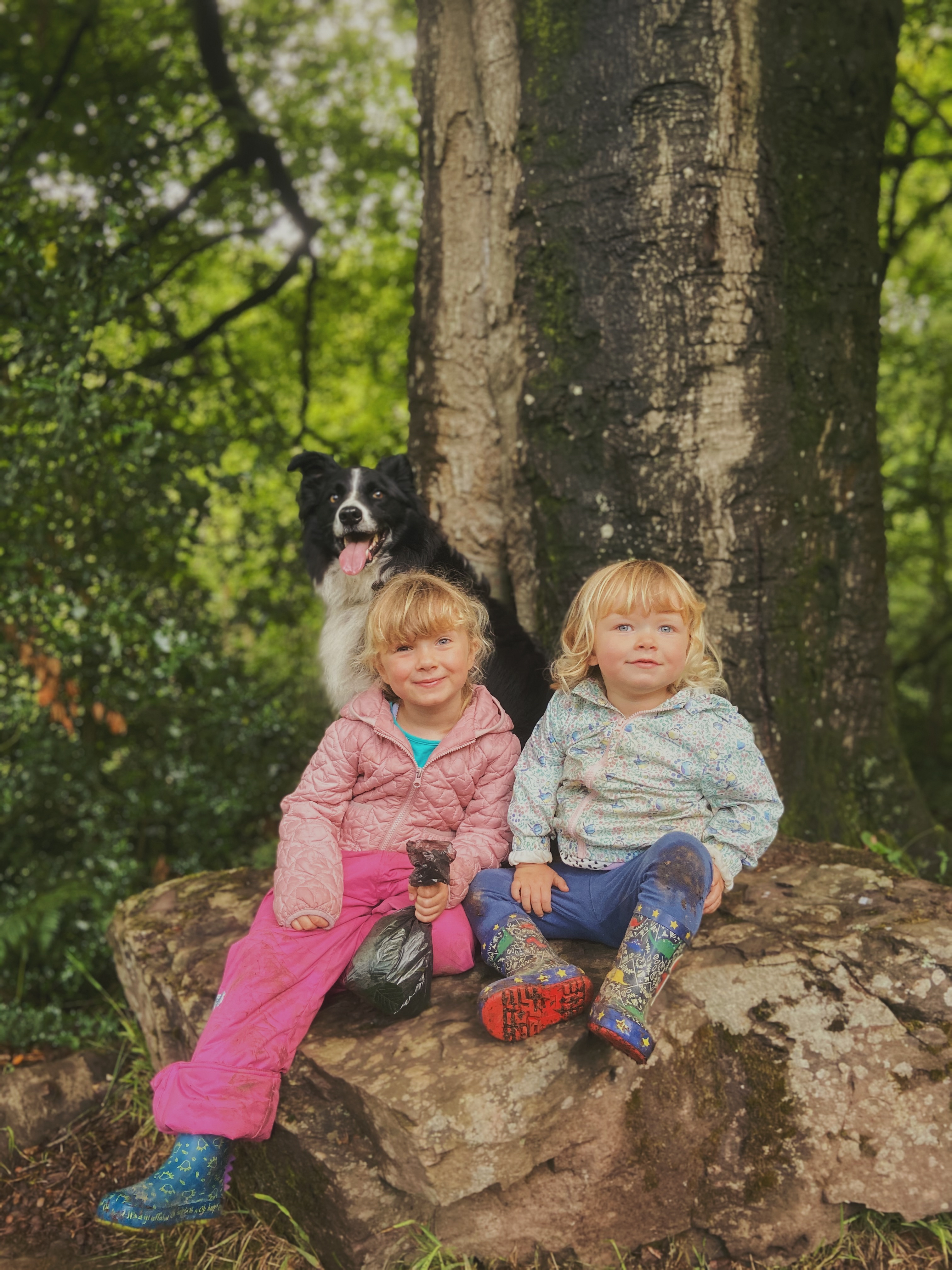 Two girls sat on a large rock with a border collie